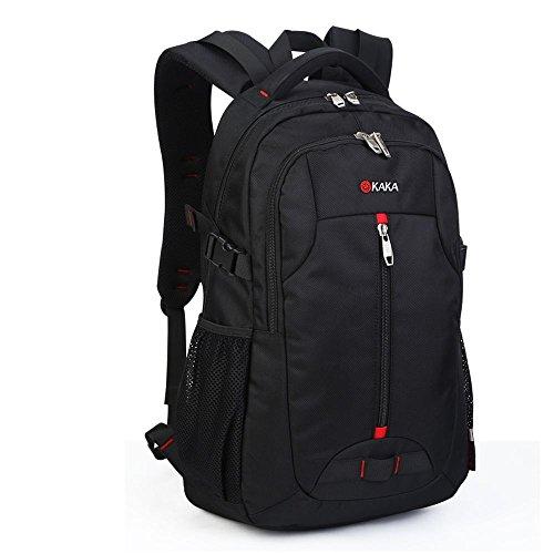 KAKA A88002 15,6 Inch Laptoprucksack Herren Damen Rucksack Schulrucksack für Schule Wandern Schwarz