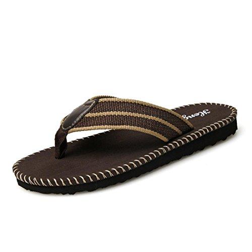 Men's Durable Beach Breathable Flip Flops Walking Slippers brown