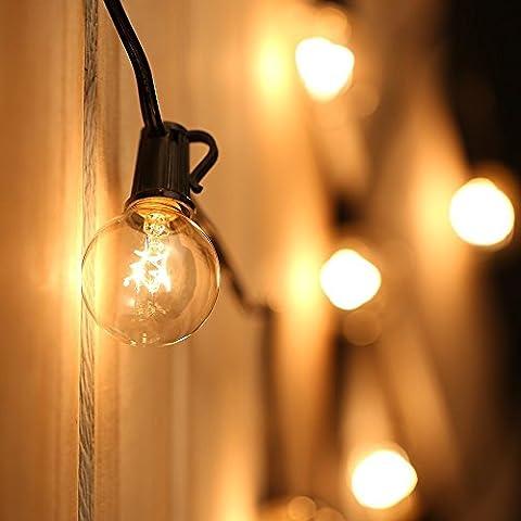 7,6 M Rétro Guirlandes avec 25 Globe Light Ampoules (Base E12, G40), Imperméable, Bout à Bout, Intérieur / Extérieur Guirlandes lumineuses, Parfait pour le Café, Jardin, Décoration de fête de Feston, Arbre de Noël (4 Ampoules de Rechange)