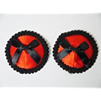 1 x Set Round Bow Red Black Burlesque Nipple Covers Tassels Pasties Funny Gift