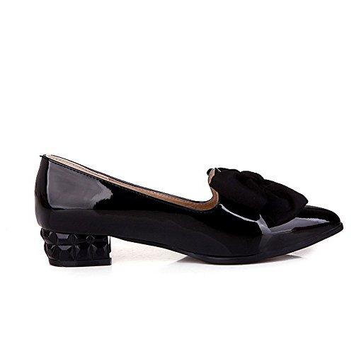 AllhqFashion Femme Couleur Unie Pu Cuir à Talon Bas Pointu Tire Chaussures Légeres Noir