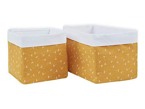 KraftKids Stoff-Körbchen in Musselin gelb Pusteblumen, Aufbewahrungskorb für Kinderzimmer, Aufbewahrungsbox fürs Bad, Größe 20 x 33 x 20 cm