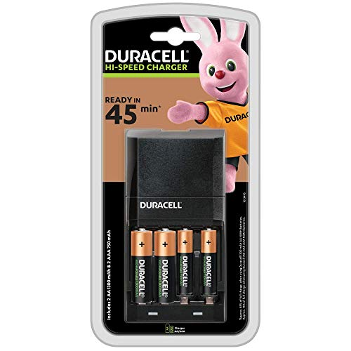 Duracell Caricabatterie, Ricarica in 45 Minuti, Include 2 Batterie AA e 2 Batterie AAA