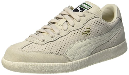 PUMA Unisex-Erwachsene Liga Suede Perf Sneaker, Beige (Birch-Whisper White-Team Gold), 43 - Puma Liga Sneaker