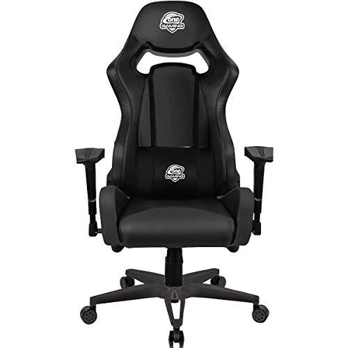 ONE GAMING Chair Ultra Black Full Leather Gamingstuhl Höhenverstellbar mit Wippmechanik inkl. Kissen verstellbare Armlehnen Echtleder Maximalbelastung: 130 Kg Chefsessel Bürostuhl Schreibtischstuhl