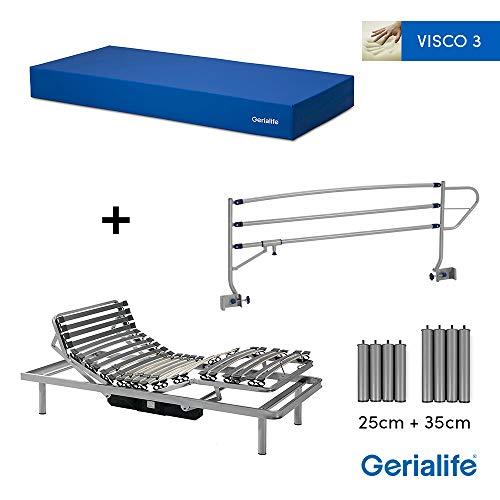 Gerialife® Pack Cama articulada eléctrica | Colchón Sanitario viscoelástico | Barandillas abatibles | Patas más Altas (90x190, Plateado)