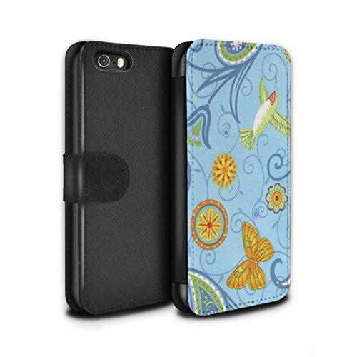 Stuff4 Coque/Etui/Housse Cuir PU Case/Cover pour Apple iPhone SE / Pack 12pcs Design / Printemps Collection Bleu/Jaune