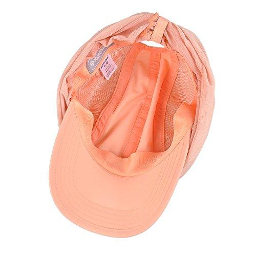 Kenmont femmes d'été Chapeaux de soleil topee visière casquette de baseball UV 50 + rabat Chapeau Protection du cou respirant de pêche avec pare-soleil Masque Orange