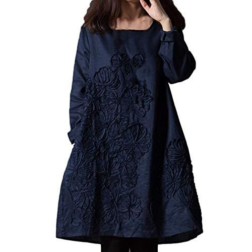 Guesspower Robe à Manches Longues,Plus la Taille des Femmes Manches Longues et Genou Shirt Jupe Vrac Mosaïque Floral Coton Lin Robe Courtes