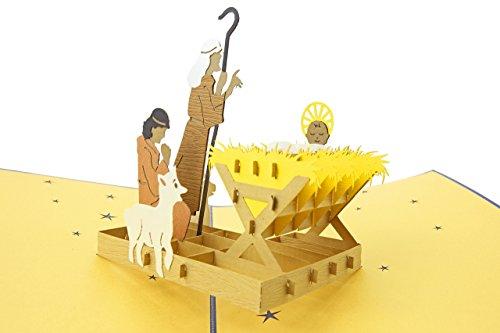 chten Krippe 3d Pop-up-Grußkarte - Krippe Geschichte, Baby Jesus, heilige Familie - Falten flach für den Versand - Urlaub Party, Kirche Geschenk, Strumpf Stuffer ()