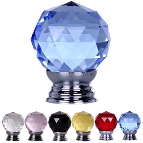 BEIYI® 23-20-5 4x 30mm Crystal Manopole e viti per cassetti (Blu)