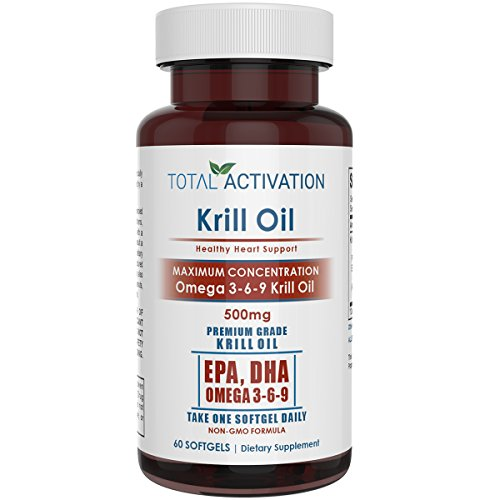 Total Activation Krill Oil Omega 3 6 9 Fatty Acids with Astaxanthin, 1000mg Per 2 Softgels, DHA, EPA, 60 Red Burpless Liquid Softgel Capsules, All Natural, No Fishy Aftertaste