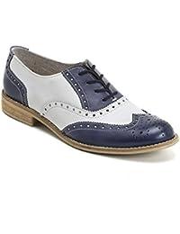 MARINA SEVAL by Scarpe&Scarpe - Zapatos acordonados bicolor, de Piel, con Tacones 2 cm