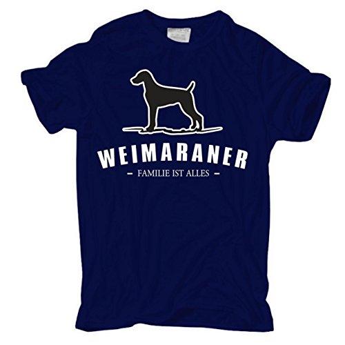 Männer und Herren T-Shirt Weimaraner - Familie ist alles Größe S - 8XL körperbetont dunkelblau