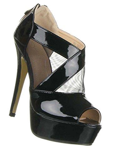 Damen Schuhe Pumps PEEP Toe Plateau HIGH Heels Schwarz 36