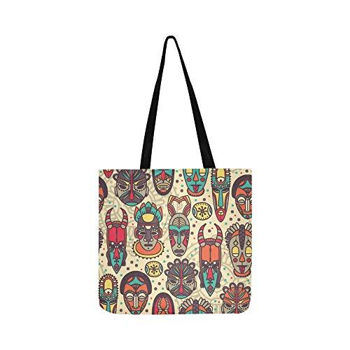 Stammes Afrikanische Masken Leinwand Tote Handtasche Schultertasche Crossbody Taschen Geldbörsen Für Männer Und Frauen ()