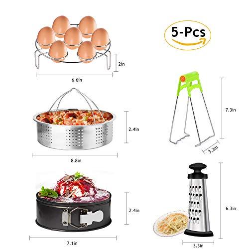 Markkeer instant pot set di accessori con cottura a vapore, egg steamer rack, teglia antiaderente, con piatti, grattugia