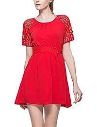 c1d434e1d6 HX fashion Vestidos Cortos Mujer Elegantes Classic Chic Vestido De Gasa  Splice Encaje Manga Corta Cuello Redondo…