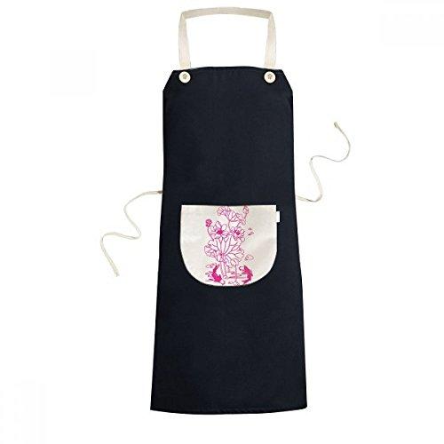 Flower Lotus Root (Lotus Leaf Lotus Flower Lotus Root Fish Water Cooking Kitchen Black Adjustable Bib Apron Pocket Women Men Chef Gift)