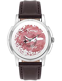Travel Watch - BigOwl Travel More Often Airplane World Map Design Leather Strap Casual Wrist Watch For Men - Perfect...