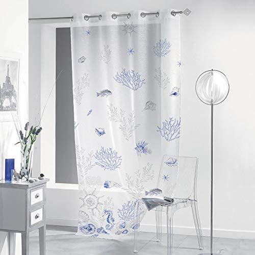 Gogostyle - nassau blu - tenda per interni stampa digitale, un pannello 140x280cm, supporto ad anelli, tessuto bouclè turco, fantasia marina