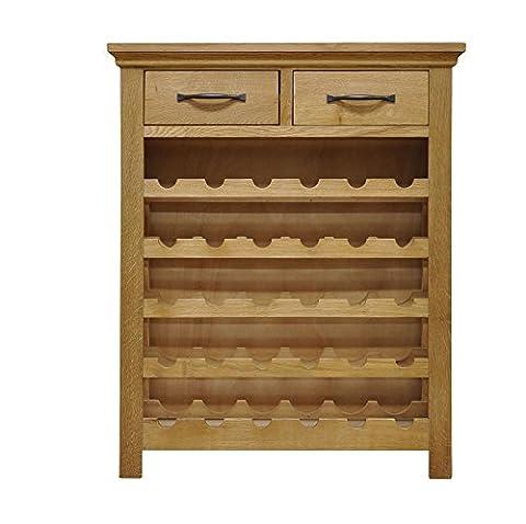 Warwick Oak 2 Drawer Wine Cabinet in Light Oak Finish