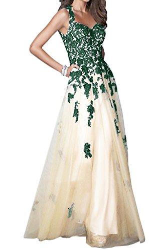 Gorgeous Bride Traumhaft Traeger Rueckenfrei Satin Spitze Tuell Lang Abendkleider Festkleid Ballkleid Dunkelgruen