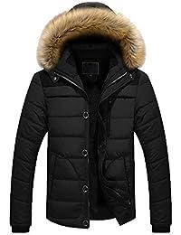 Doudoune en Coton Homme Hiver Chaud Manteau Épais Veste À Capuche Outwear  Manches Longues ade7dbc982e