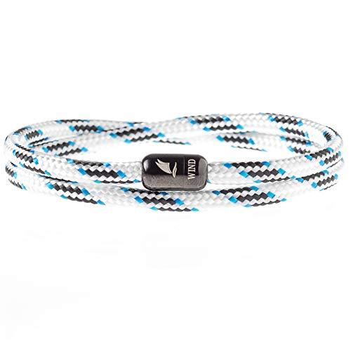 Wind Passion Armband Weiß Unisex Maritim Segeltau mit Magnetverschluss für Männer und Frauen, Größe Medium