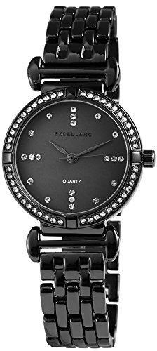 Ladies Black Titan Look Rhinestone Metal Bracelet Watch