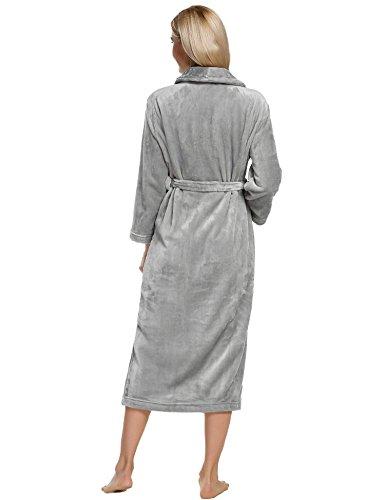 ZEARO Robe de Chambre Femme Longue Hiver Peignoir Femme Polaire Gris
