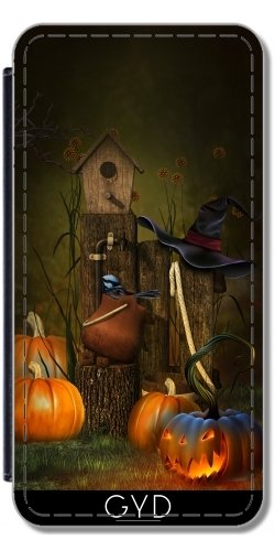 tArtists Leder Flip Case Tasche Hülle für Samsung Galaxy Note 3 (GT-N9500) - Halloween 15-2 Hexe Kürbis by Illu-Pic.-A.T.Art ()