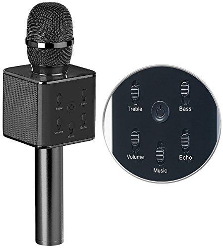 auvisio Karaoke Mikro: Karaoke-Mikrofon mit Bluetooth, MP3-Player, Lautsprecher und Akku (Karaoke Mikro mit Bluetooth)