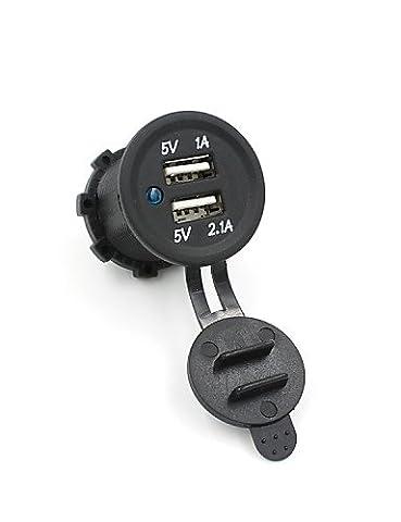 KLDZIDNI 12v étanche Dual USB automobile de la prise du panneau de sortie du connecteur du chargeur de port 1a 2.1a KK-V-6420