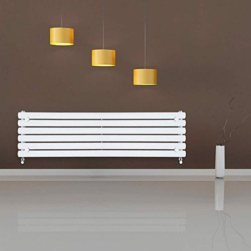 Milano Hudson Reed 'Revive Bianco' Radiatore Termoarredo Design Orizzontale 354 x 1600mm - 815 Watt - Termosifone Decorativo - Riscaldamento ad Acqua - Pannelli Ovali