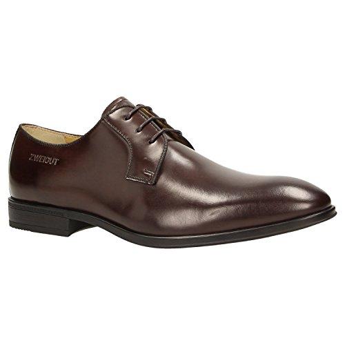 Zweigut® -Hamburg- smuck #270 Herren Business Leder Schuh Komfort-König Derby Sneaker-Gefühl, Schuhgröße:47, Farbe:Dunkelbraun