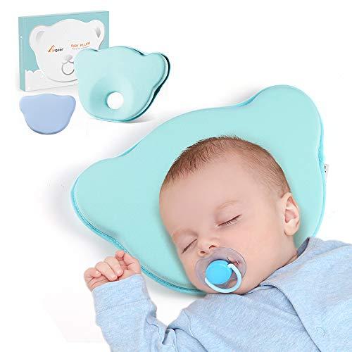 Elegear Babykissen gegen Plattkopf mit Zwei Bezügen zur Heilung und Vorsorge der Plagiozephalie Babykopfkissen - Blau