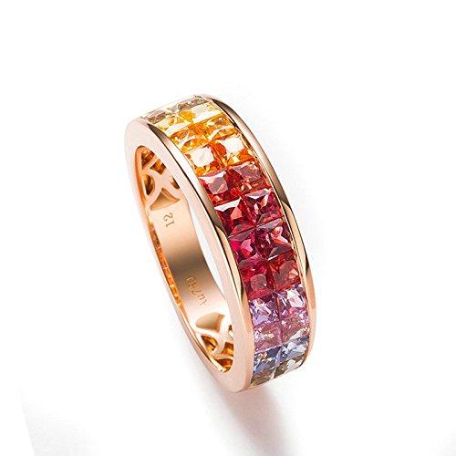 Bishilin 18 Karat (750) Rotgold Frauen Ring 2.56 Karat Diamant Bunte Rechteck Rosegoldring Verlobungsring Eheringe Größe 52 (16.6)