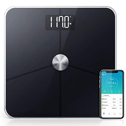 Personenwaage, Körperfettwaage mit 18 Physischen Index Metallloser ITO leitfähige Layer Technologie Körperanalysewaage mit APP, BMI, Gewicht, Protein, Grundumsatz -