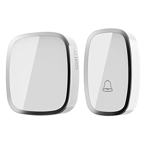 Wireless Doorbell, Portable Weatherproof Wall Plug-in Cordless Door Bell Chime Kit at 1000-feet Range with 36 Tunes, LED Indicator, 4 Volume Level, 1 Push Button & 1 Receiver Requiring No Battery (White)