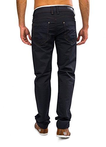 Herren Stoff-Hose · (Regular Fit) Dunkle elegante Freizeit Jeans Hose aus gewachster Baumwolle, Coated Denim mit geradem Bein (Straight Leg) · H1614 von Jaylvis Blau