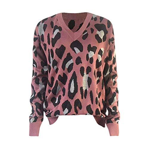Maleya Frauen lose gestrickte Star Shape Print Langarm V-Ausschnitt Pullover Bluse gesticktes Pullover-Sweatshirt-Kleid Blusen-Sweatshirt um Plus Size Zipper Overlay weites Bein Overall Hülsen -