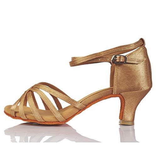 VASHCAME-Zapatos de Baile Latino de Tacón Alto/Medio para Mujer Beige 37 (Tacón-5cm)