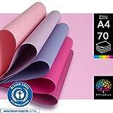 OfficeTree Tonpapier Rosa A4 - Bastelpapier 70 Blatt 130g/m² - 7 Rosa Töne -...