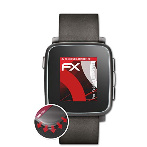 atFoliX Schutzfolie passend für Pebble Time Steel Folie, entspiegelnde & Flexible FX Bildschirmschutzfolie (3X)