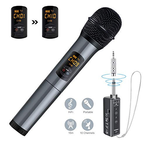 ELEGIANT Funkmikrofon, Kabelloses Mikrofon UHF mikrofon Bluetooth mit Empfänger drahtlos Microphone Karaoke Handmikrofon über 15m Geschenk für PC Konferenz Abendgesellschaft Schule Party Hochzeit