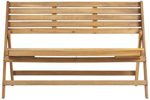 Safavieh Malaga Banc de Pliage Extérieur, Bois, Brun Naturel, 59 x 121 x 80,01 cm