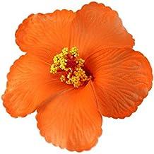 OULII 1pc Hawaiian Hibiscus Flowers Fêtes de fête d'été Fournitures Photo Props (Orange)