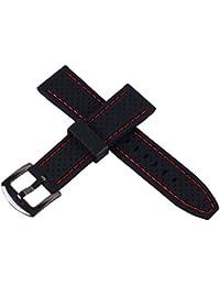 banda de correa de caucho perforado con hebilla de 22 mm de silicona resistente al agua reloj de buceo deportivo suave (costuras de color rojo)