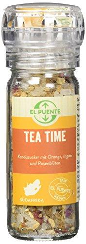 El Puente Tea time, Kandiszucker mit Orangenschalen, Ingwer und Rosenblüten, 3er Pack (3 x 65 g)